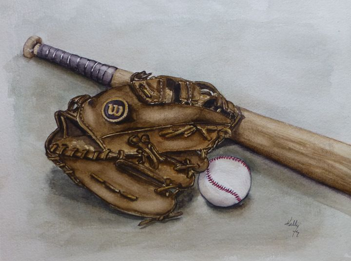 Wilson Baseball Glove Painting - Kelly Mills Paintings