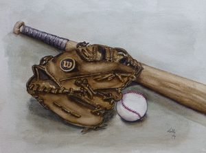 Wilson Baseball Glove Painting - Kelly Mills Paintings