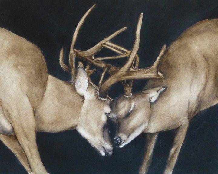 Antlers Shuffle Original Painting - Kelly Mills Paintings