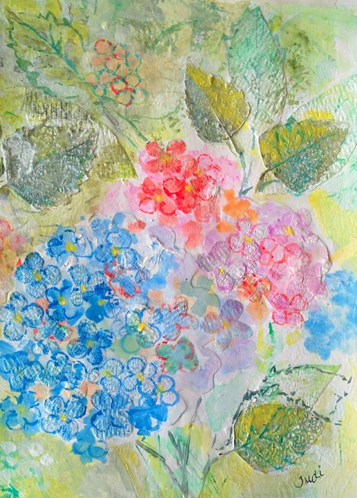 Hydrangeas in the Garden - Art By Judi