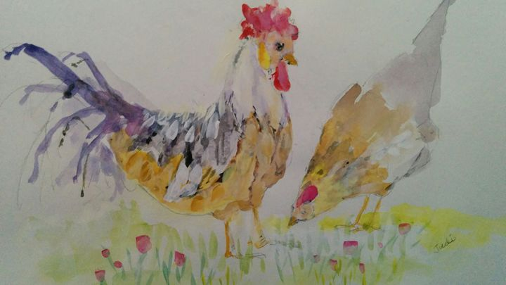 Dinner Time for Chickens - Art By Judi