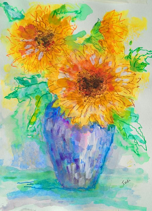 Sunflowers in a Vase - Art By Judi