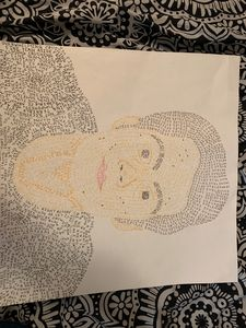 Portrait using words to color.