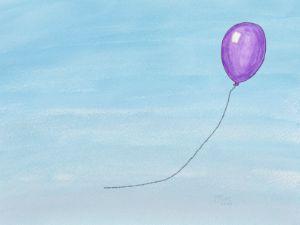 Purple Balloon Watercolor - Art by J.J. Cole