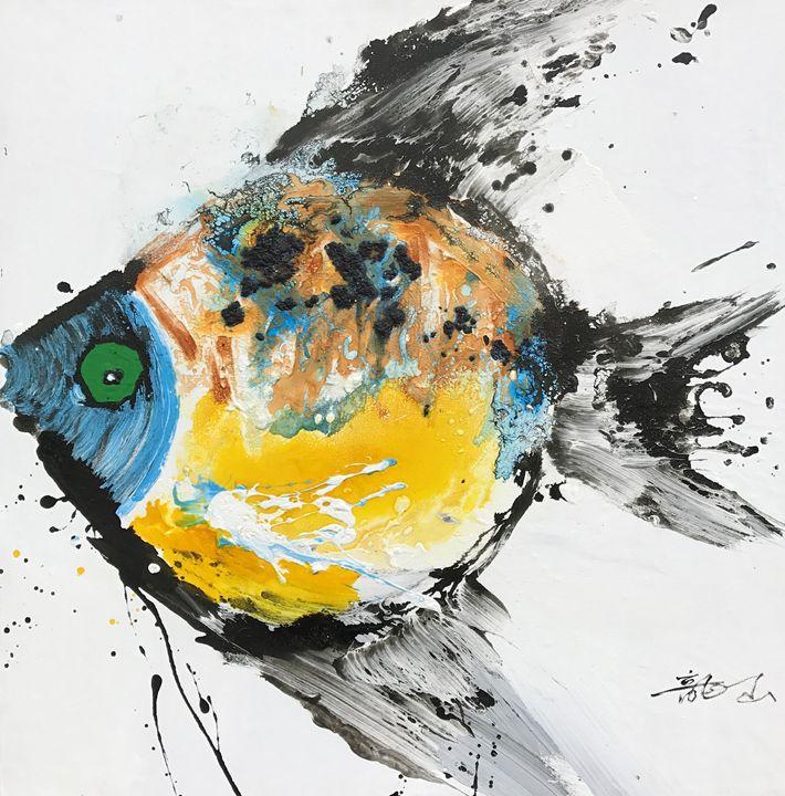 "Fish- Qunce Zeng 39x39"" - Gallery Hi Art"