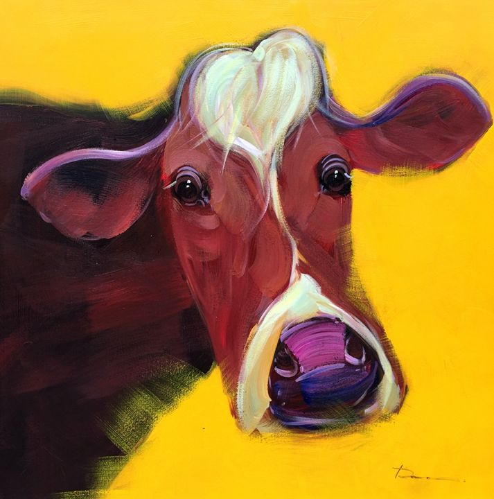 """Cow - Deng Ren 39x39"""" - Gallery Hi Art"""