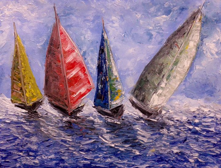 Boats on a Rough sea - Bableshwar's ArtWorks