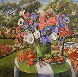 Original Floral Still Life, 48 x 48