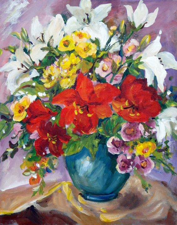 Red and White Lilies - Ingrid Dohm