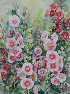Hollyhocks - Ingrid Dohm