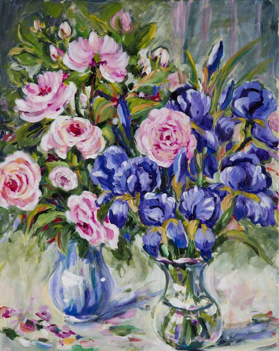 Roses and Irises - Ingrid Dohm
