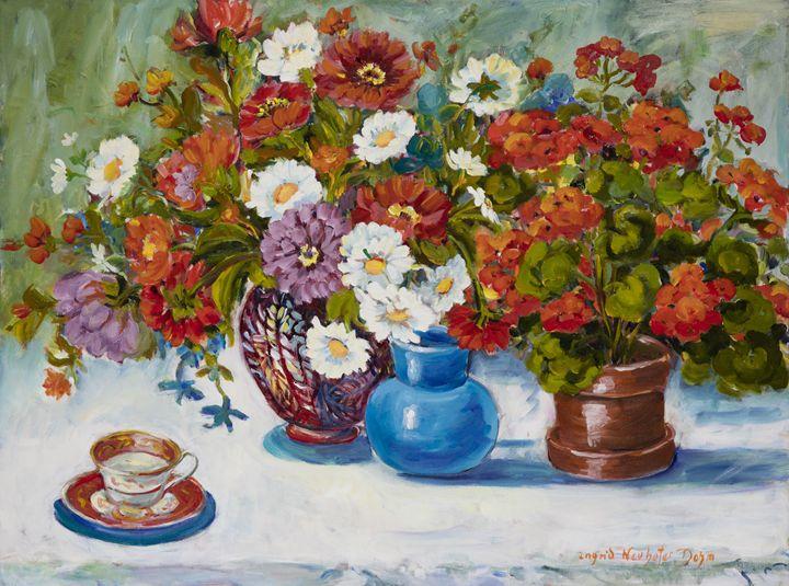 Floral Still Life Three Vases - Ingrid Dohm