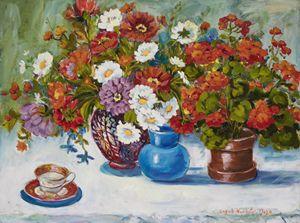 Floral Still Life Three Vases