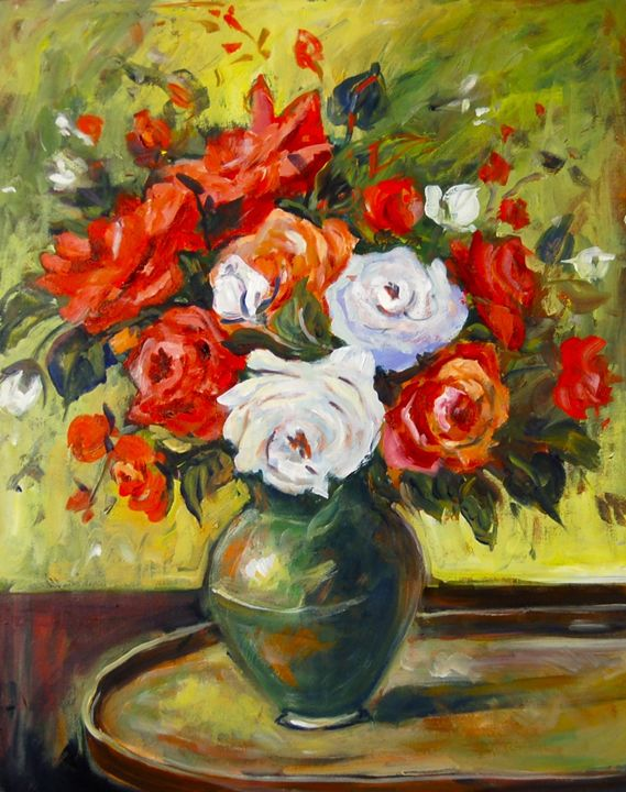 Red and White Roses - Ingrid Dohm