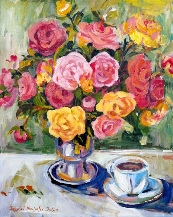 Yellow and Pink Roses - Ingrid Dohm