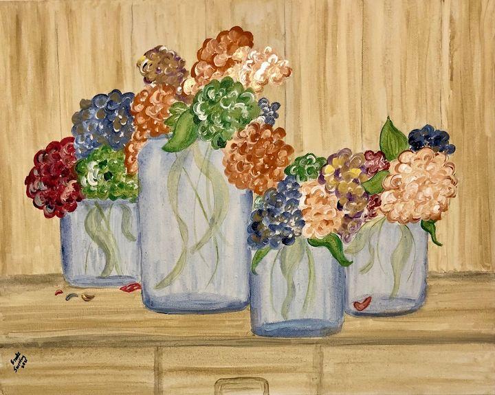 Clustered Hydrangeas - Art by Langston Studios