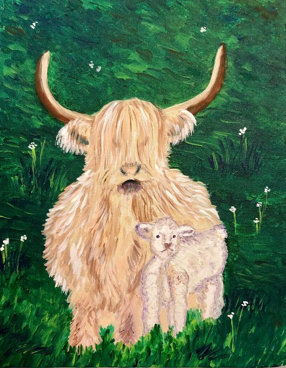 Highland cow with calf - Art by Langston Studios