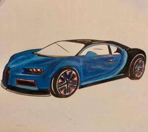 Blue Bugatti sports car
