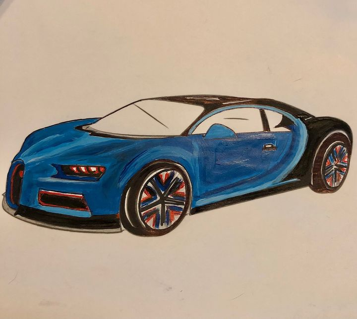 Blue Bugatti sports car - Art by Langston Studios