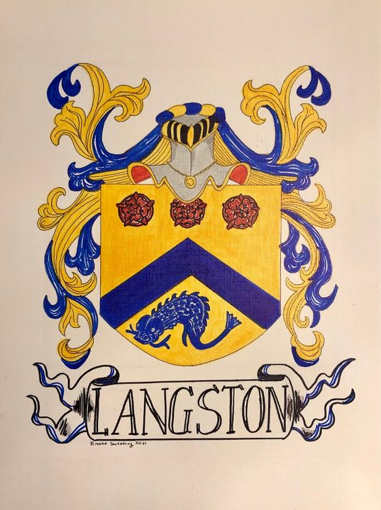 Coat of Arms personalized LANGSTON - Art by Langston Studios