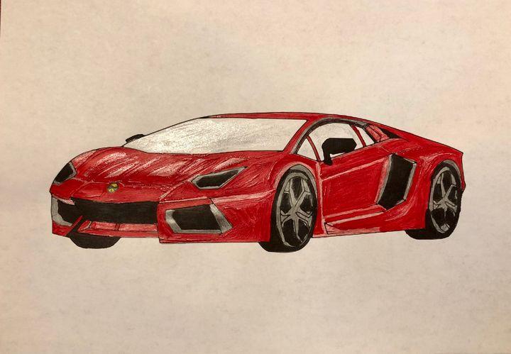 Cherry Red Ferrari - Art by Langston Studios