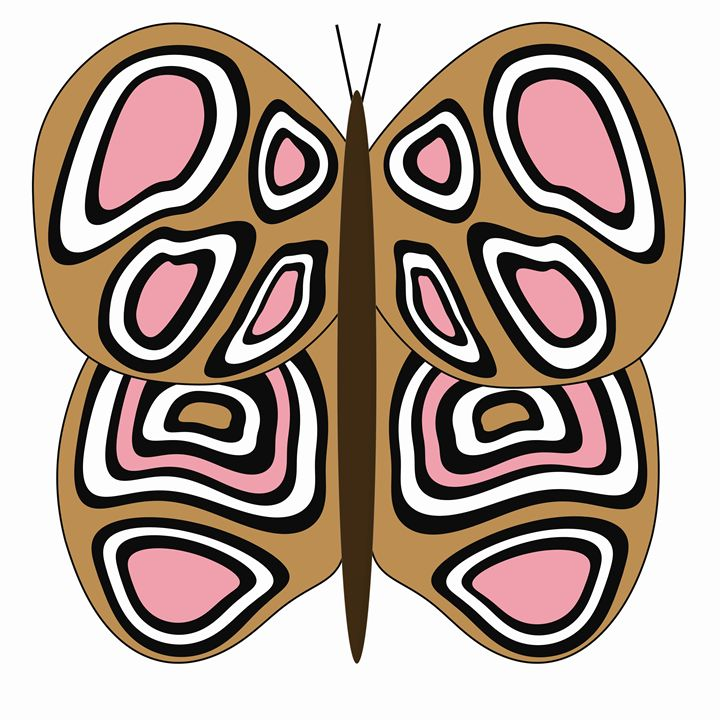 Tan Pink and White Butterfly - Laura Nybeck's Art