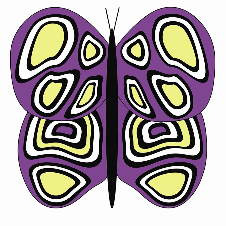 Purple, Yellow and White Butterfly - Laura Nybeck's Art