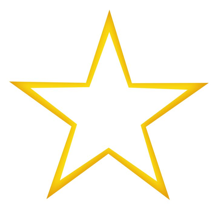 Yellow Star Outline on White - Laura Nybeck's Art