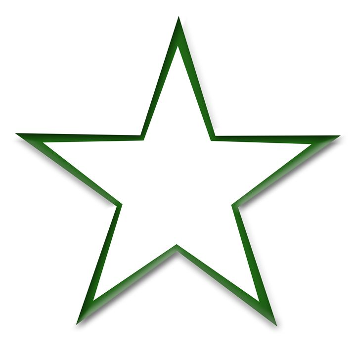 Green Star Outline on White - Laura Nybeck's Art