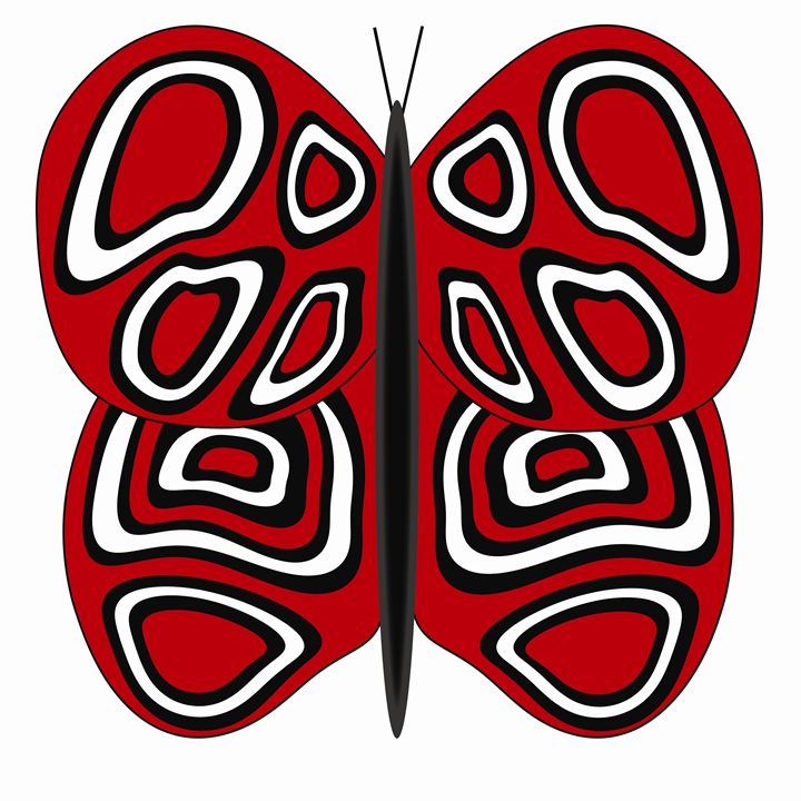 Red-White Butterfly - Laura Nybeck's Art