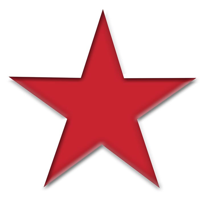 Large Red Solid Star on White - Laura Nybeck's Art