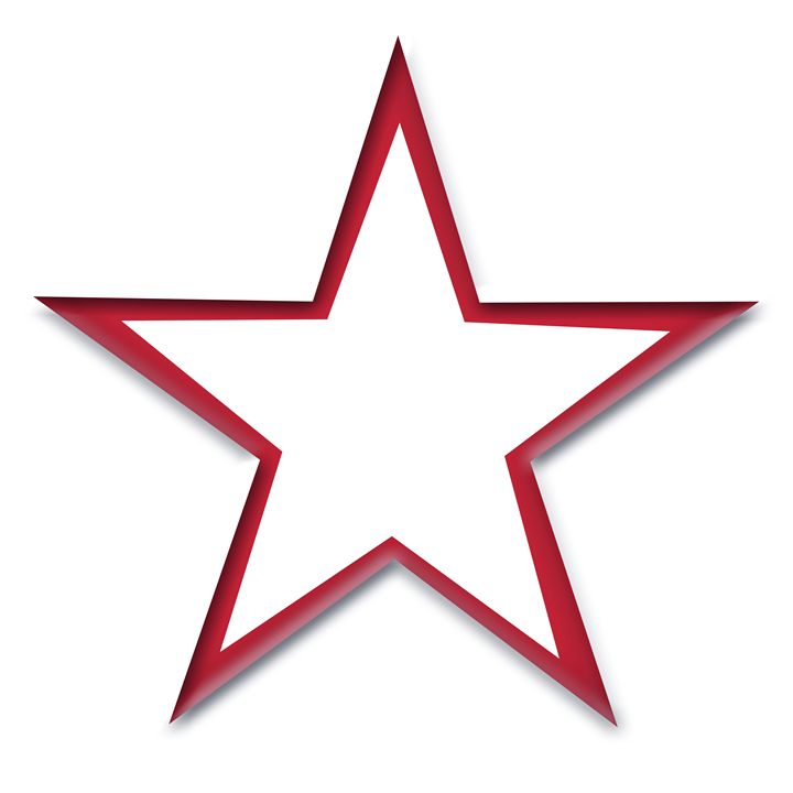 Red Star Outline on White - Laura Nybeck's Art