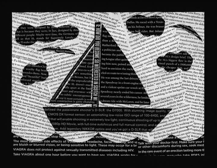 Black and White Collage Boat - Laura Nybeck's Art