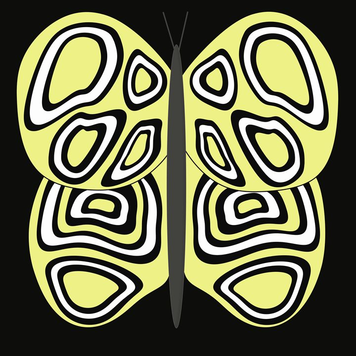 Yellow and White Butterfly on Black - Laura Nybeck's Art