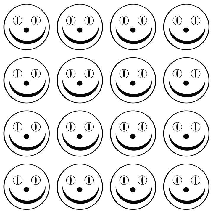 White Happy Face Medium Pattern - Laura Nybeck's Art