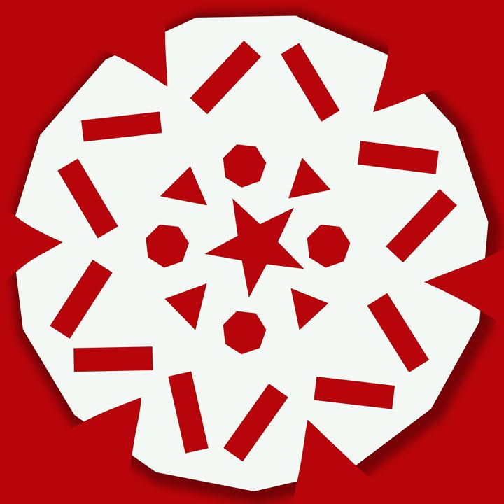 Snowflake on Red - Laura Nybeck's Art