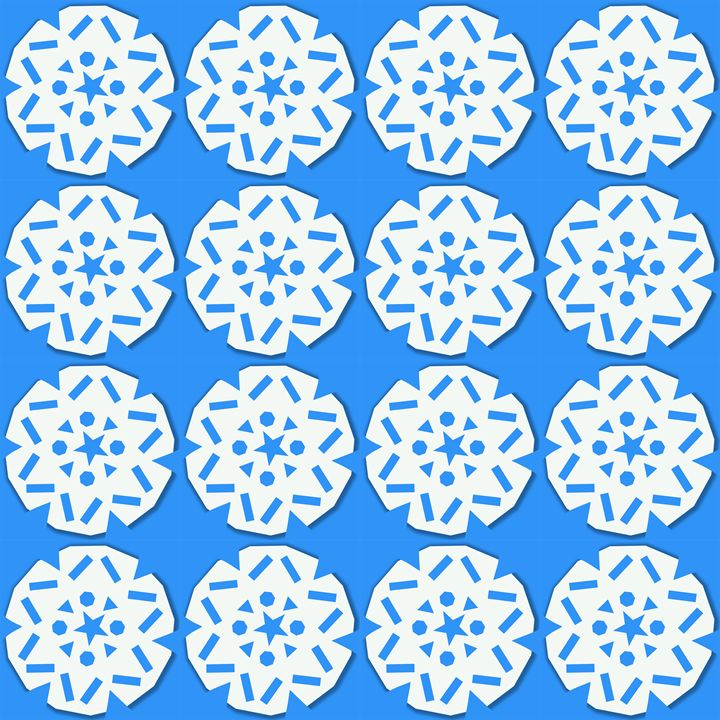 Large Snowflake Pattern on Blue - Laura Nybeck's Art