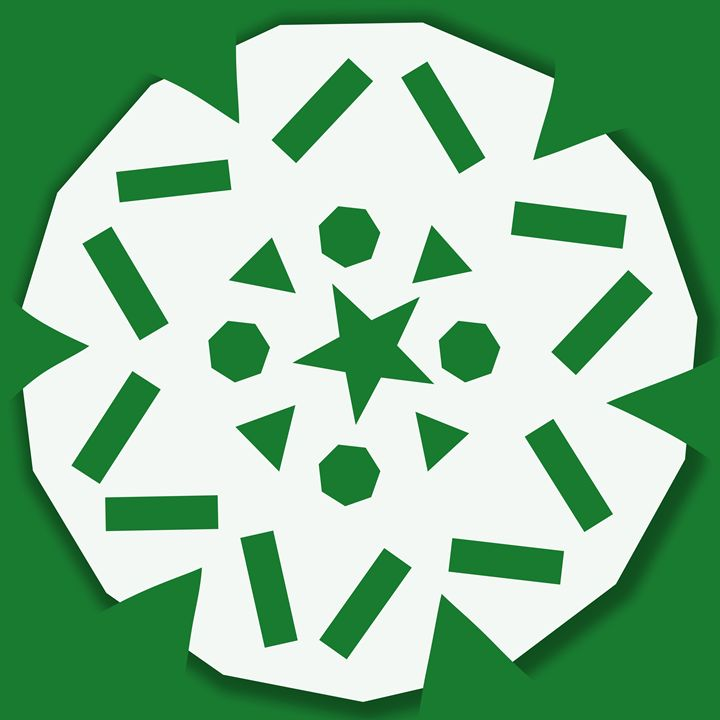 Large White Snowflake on Green - Laura Nybeck's Art