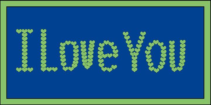 Green I Love You Hearts On Blue - Laura Nybeck's Art