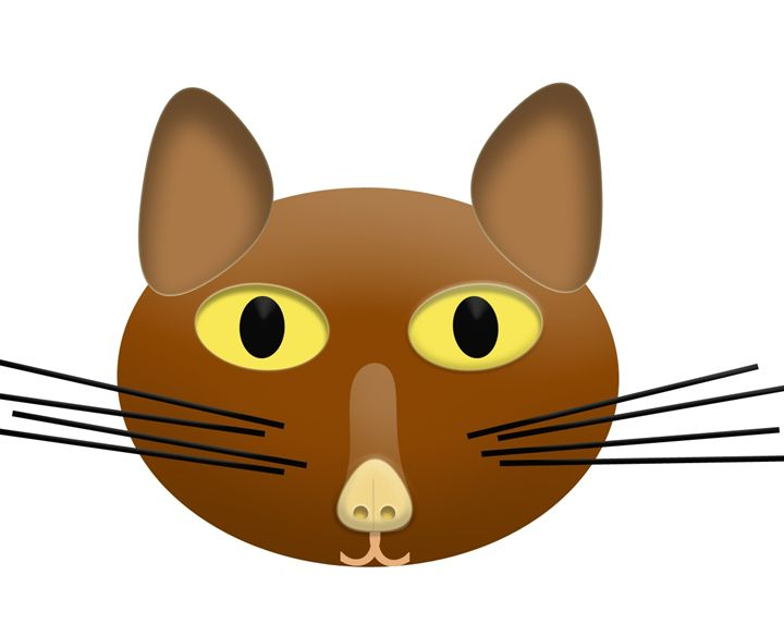 Large Brown Cat Face - Laura Nybeck's Art