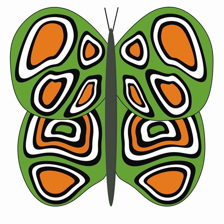Green, Orange and White Butterfly - Laura Nybeck's Art