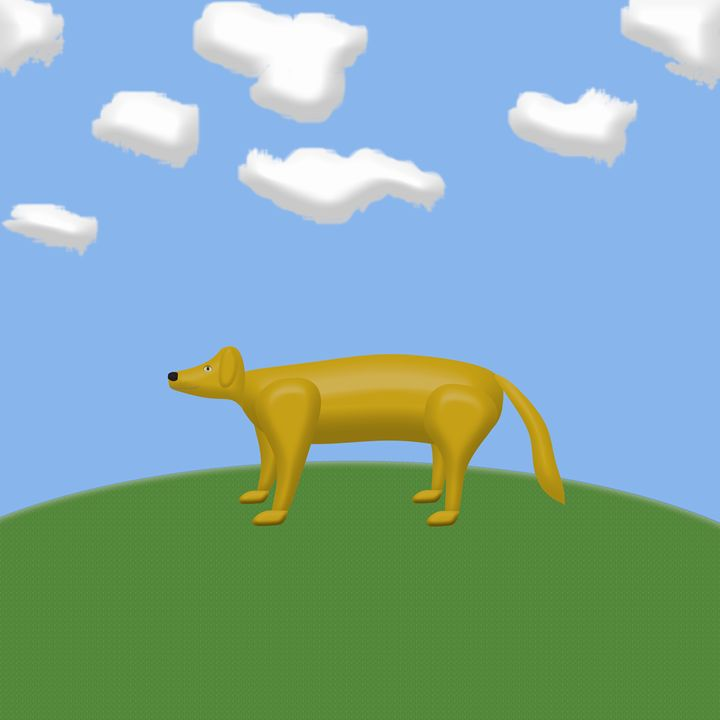 Yellow Dog on a HIll - Laura Nybeck's Art