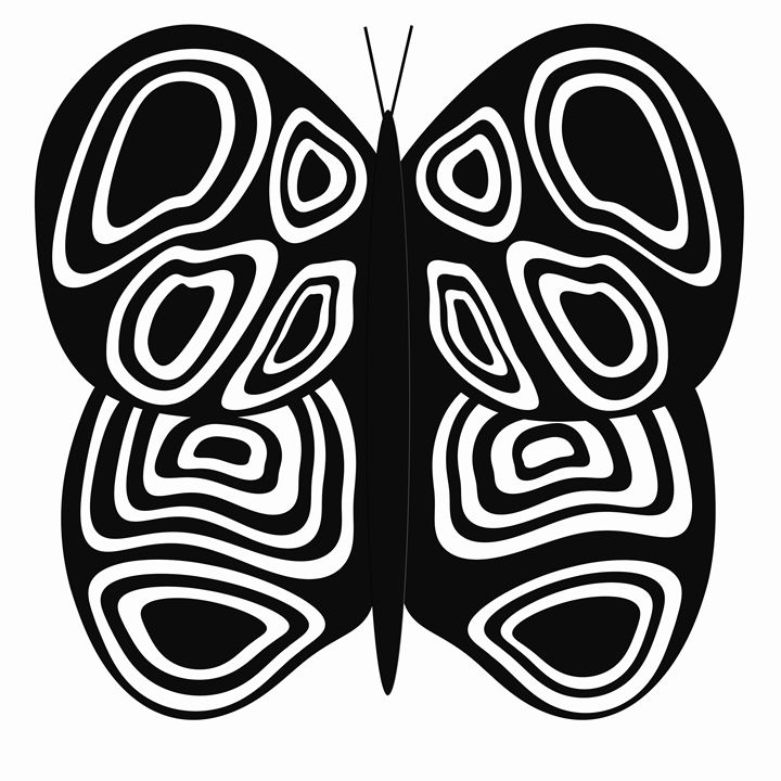Black and White Butterflyon White - Laura Nybeck's Art