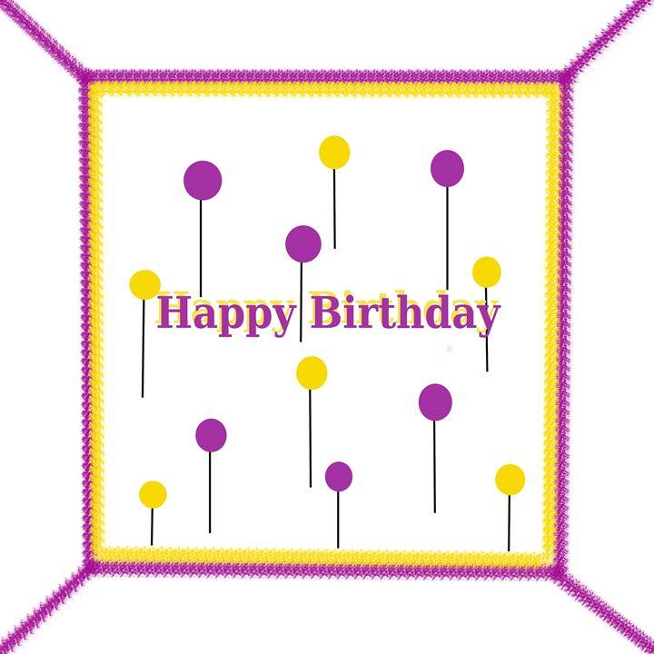 Purple-Yellow Happy Birthday Cake - Laura Nybeck's Art