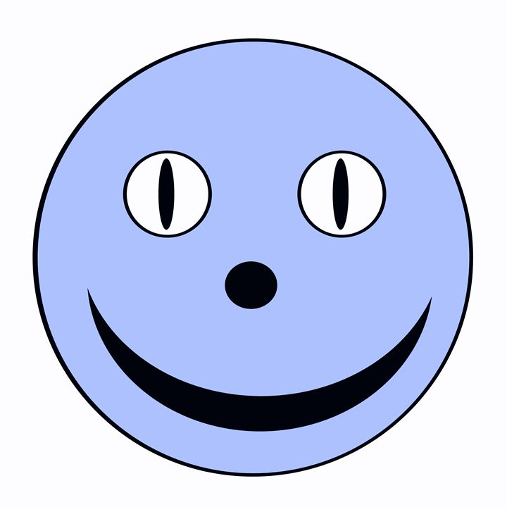 Large Blue Happy Face - Laura Nybeck's Art