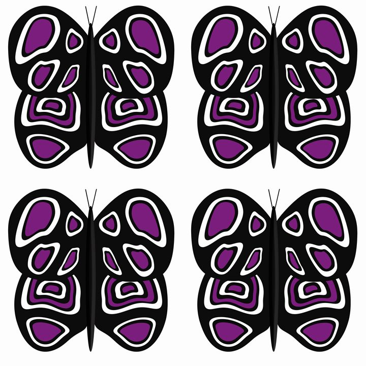 Black-Puyrple-White Lg Butterflies - Laura Nybeck's Art
