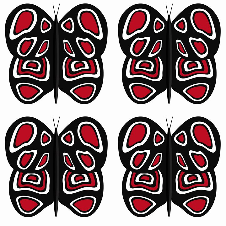 Black-Red-White Lg Butterflies - Laura Nybeck's Art