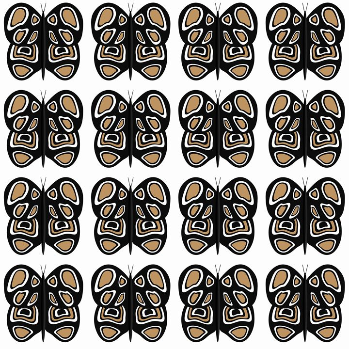 Black-Tan-White Med Butterflies - Laura Nybeck's Art
