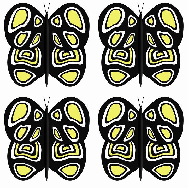 Black-Yellow-White Lg Butterflies - Laura Nybeck's Art
