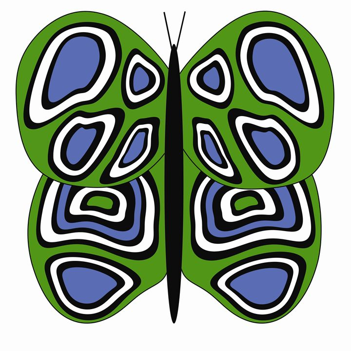 Green, Blue and White Butterfly - Laura Nybeck's Art